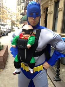 this might just be the best father son halloween costume from last night sorry patton oswald although batman might have some trouble fighting crime if he